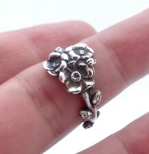 Sterling silver spoon ring Reed & Barton Harlequin floral ring Apple Blossom Sat