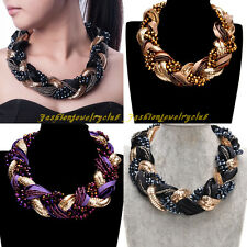 Fashion Multicolor Crystal Resin Beads Chain Knit Rope Statement Bib Necklace