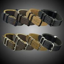 20/22/24MM VINTAGE LEATHER G10 PVD BUCKLE 5 RING DIVER WATCH MILITARY STRAP BAND