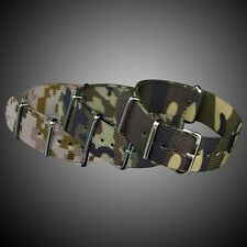 INFANTRY CAMO G10 4 RINGS NYLON FABRIC CANVAS WATCH STRAP BAND ARMY STEEL BUCKLE