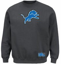 Detroit Lions MENS Sweatshirt Pullover Crewneck Heavyweight Charcoal by Majestic