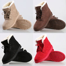 Women's Flat Lace Up Fur Lined Winter Martin Boots Snow Ankle Boots Shoes