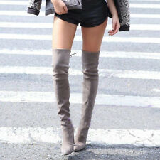 Sexy Womens Block High Heel Pointy Toe Bow Tie Over The Knee High Boots Shoes