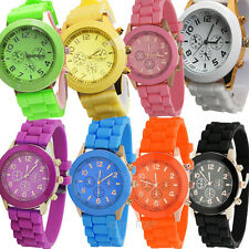 Unisex Womens Girls Geneva Silicone Jelly Gel Quartz Analog Sports Wrist Watch