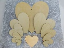 Solid Wooden Love Heart Shapes Craft Shapes Large & Small Wood Embellishments