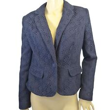 Ex Chainstore Navy Crochet / Lace Blazer Jacket (Lined) Size 8 - 16