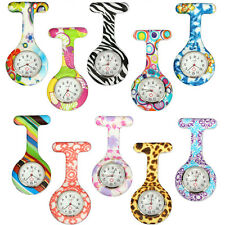 Mix Colour Silicone Tunic Brooch Nurse Fob Leopard Geometric Flower Print Watch