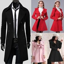 2014 Men Women Stylish Outwear Overcoat Winter Warm Trench Coat Slim Long Jacket