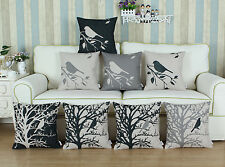 "18"" X 18"" Gray Black Shadow Birds Tree Cushion Covers Pillows Shell Home Car"