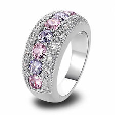 Women Pink White Topaz Gemstone Silver Jewelry Fashion Ring Size 6 7 8 9 10 Gift