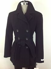 Calvin Klein NWT BLACK Double Breasted Fancy layered  Wool Blend Peacoat