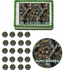 Mossy Oak Camouflage Edible Birthday Party Cake Topper Cupcake Image Decorations