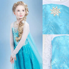 Kids Girls Dresses Disney Elsa Frozen dress costume Princess  party dresses #1&