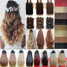 US Seller Half Full Head Clip In Hair Extensions Long Remy Straight Wavy A0009