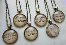 Alice in Wonderland Choice of 6 Bronze Plated Glass Domed Text Necklace - New