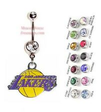NBA LOS ANGELES LAKERS AUTHENTIC LOGO CHARM DANGLE NAVEL BELLY RING! NRNHL-103