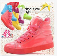 Sweet Candy Color womens Patent Leather High Top Casual Sneakers Sports Shoes