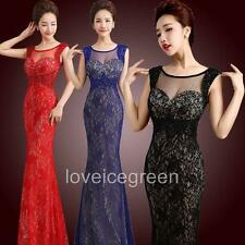 Sexy Hollow Lace Strechy Mermaid Prom Gown Cocktail Wedding Party Long Dress NEW