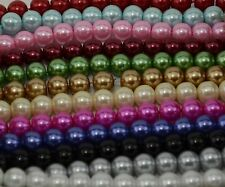 Pack of 35 pieces 12mm Round Glass Pearl Beads - Choose from 15 Colours