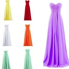 2014 Sexy Wedding Strapless Chiffon Formal Cocktail Gown Bridesmaid Long Dress