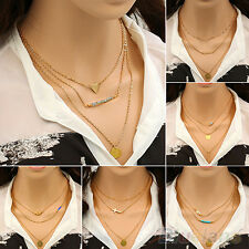 Delicate Womens Turquoise Hamsa Fatima Hand Charm Gold Chain Necklace Xmas Gift