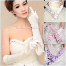 Women Evening Party Satin Pure Long Gloves Opera Wedding Bridal Costume Gloves