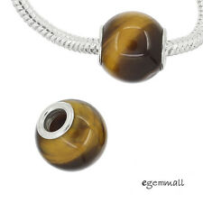 1PC Tiger's Eye Stone In Sterling Silver European Charm Bead  (Select Size)