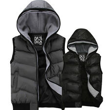 Men's Winter Outdoor Fashion Down Vests Casual Coat Cotton Hooded Waistcoat