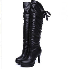 Winter Womens PU Leather Fold Pull On Knee High Lace Up Stiletto Boots Shoes