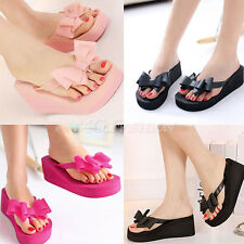 T Straps Wedge Platform Thong Flip Flops Summer Sandals Bow Shoes Beach Slippers