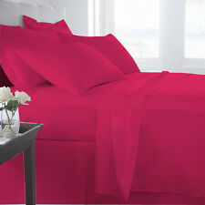 100% EGYPTIAN COTTON ALL BEDDING ITEMS HOT PINK SOLID CHOOSE SIZE&SET