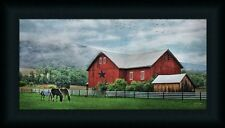 Grazin' Time Lori Deiter Horses Red Barn 9x18 Framed Wall Art Print Picture