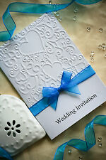 SAMPLE Embossed Wedding Invitation with Organza Ribbon