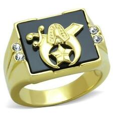 Men's Stainless Steel Black Onyx Shriner Shriners Gold Plated Mason Masonic Ring