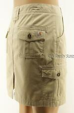 Carhartt Khaki Cargo Skirt Size 12 Drawstring  Adjustable Waistband 6 Pocket