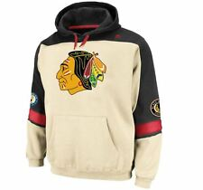 Chicago Blackhawks MENS Sweatshirt Pullover Hoodie Vintage Logo Cream Majestic