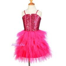 Glitz Sequins Tulle Dress Flower Girl Pageant Occasion Party Kid Size 2T-14 #305