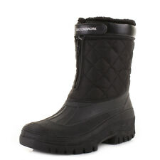 MENS BLACK QUILTED MUCKER COMFORT WINTER ACTIVITY WATERPROOF WORK BOOTS SIZE
