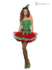 Ladies Sexy Adult Elf Christmas Fancy Dress Costume Santas Little Helper Outfit