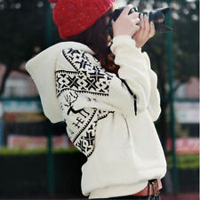 Korean Women's Long Sleeve Hoodie Sweatshirt Jacket Outwear Coat White