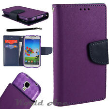 PU Leather Flip Wallet Pouch Case Card Folio Stand for Samsung Purple/Blue +TPU