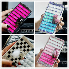 Flip Wallet Bling Crystal Diamond Leather Cover Case F Samsung Galaxy Note 2 3 4