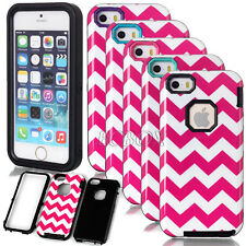 Heavy Duty Glossy Rose Wave Pattern Hybrid Rugged Combo Case For iPhone 5S SE 5C