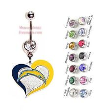 NFL SAN DIEGO CHARGERS AUTHENTIC LOGO HEART CHARM DANGLE BELLY RING! NRHNFL-127