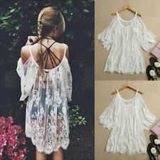 2014 Vtg Hippie Boho People Embroidery Floral Lace Crochet Mini Party Dress Tops