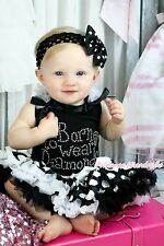 Rhinestone Born To Wear Diamond Black Top White Dot Skirt Baby Girl Outfit NB-8Y