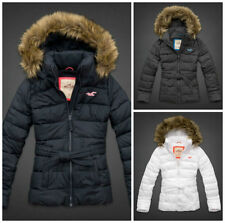 Hollister by Abercrombie & Fitch Womens White Point Parka Jacket With Fur Hoodie