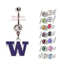 "NCAA WASHINGTON HUSKIES ""W"" AUTHENTIC LOGO CHARM DANGLE BELLY RING! NRNHL-120"
