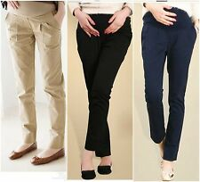 OL Pregnant Lady Belly Care Solid Pants Casual Tight Office Work Wear Trousers M