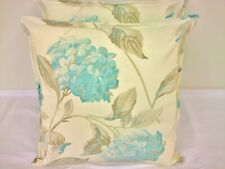 2 NEW CUSHION COVERS IN LAURA ASHLEY HYDRANGEA DUCK EGG FLORAL